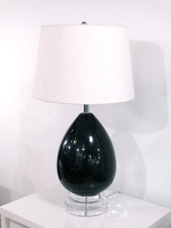 Black Speckle Glazed Ceramic and Lucite Lamp For Sale 1