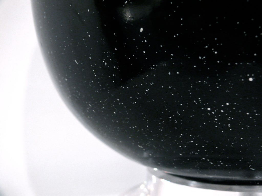 Black Speckle Glazed Ceramic and Lucite Lamp For Sale 2