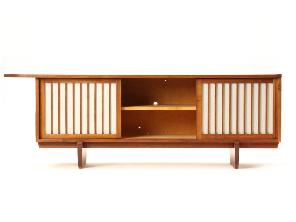 American Vintage Walnut and Linen Sideboard