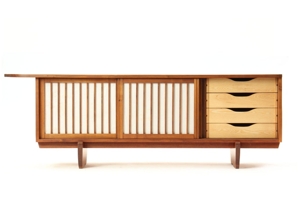 Vintage Walnut and Linen Sideboard In Good Condition In Sagaponack, NY