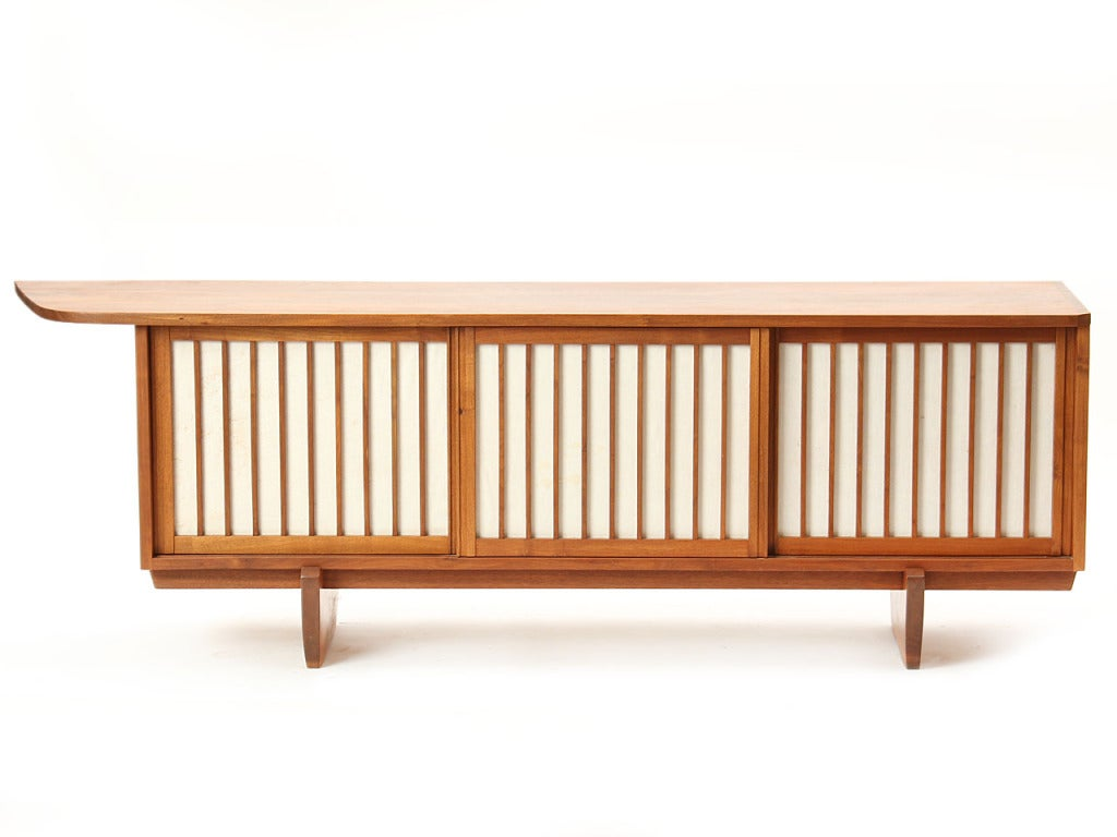 Mid-20th Century Vintage Walnut and Linen Sideboard