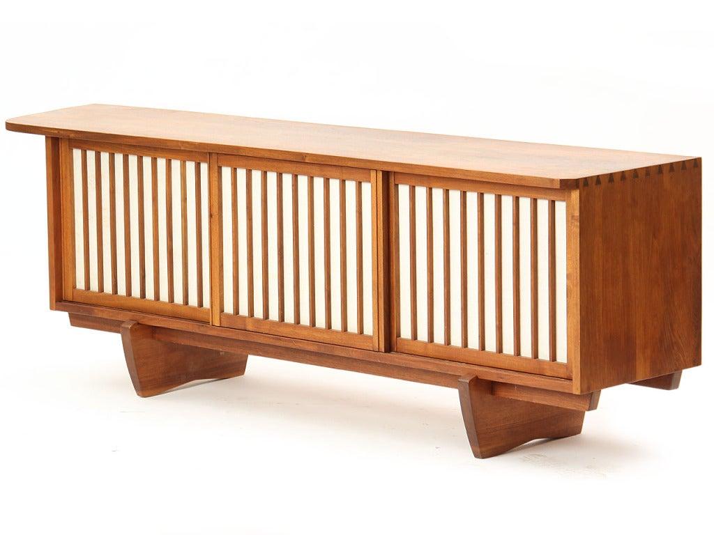 Vintage Walnut and Linen Sideboard 1
