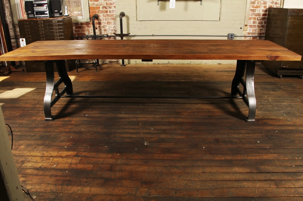 American Industrial Plank Top Dining Table - Rough Sawn Pine Wood & Cast Iron Legs  For Sale
