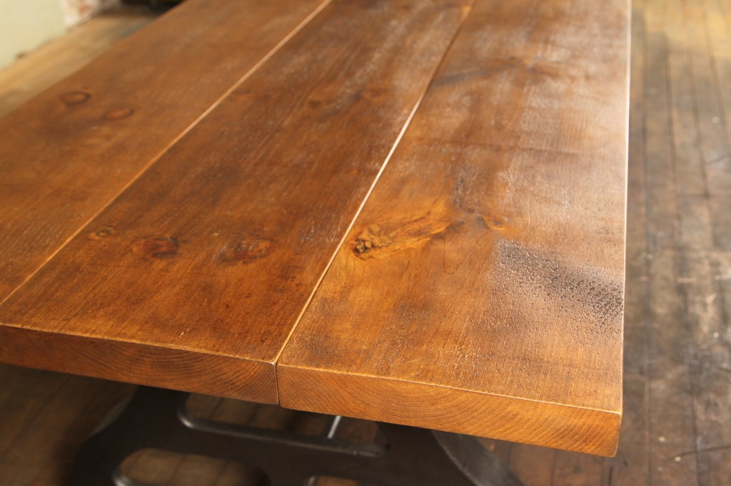 Industrial Plank Top Dining Table - Rough Sawn Pine Wood & Cast Iron Legs  In Excellent Condition For Sale In Oakville, CT