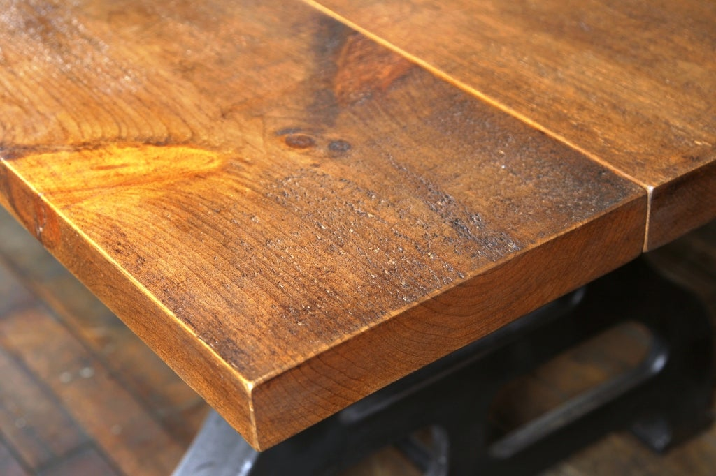 Contemporary Industrial Plank Top Dining Table - Rough Sawn Pine Wood & Cast Iron Legs  For Sale