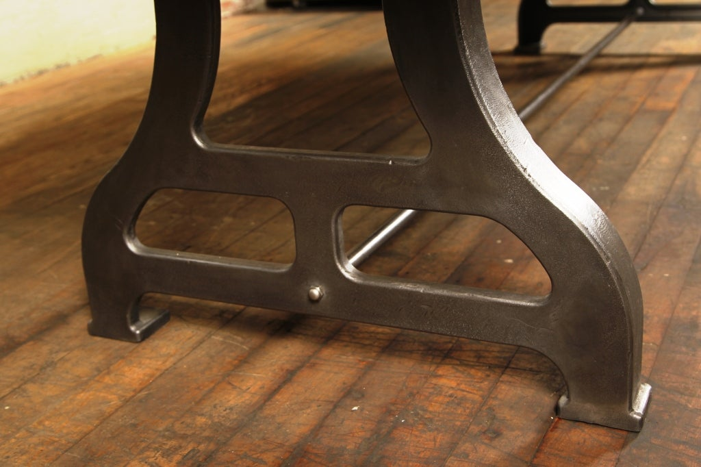 Plank top table industrial wood cast iron legs dining for Cast iron table legs for sale