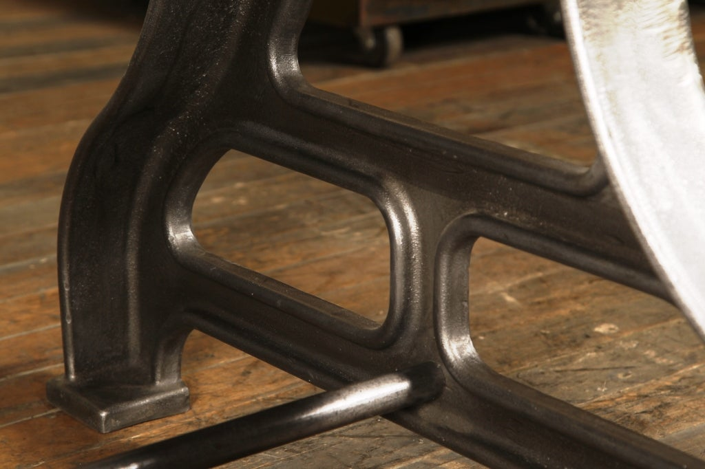 Plank top table industrial wood cast iron legs dining for Cast iron furniture legs for sale