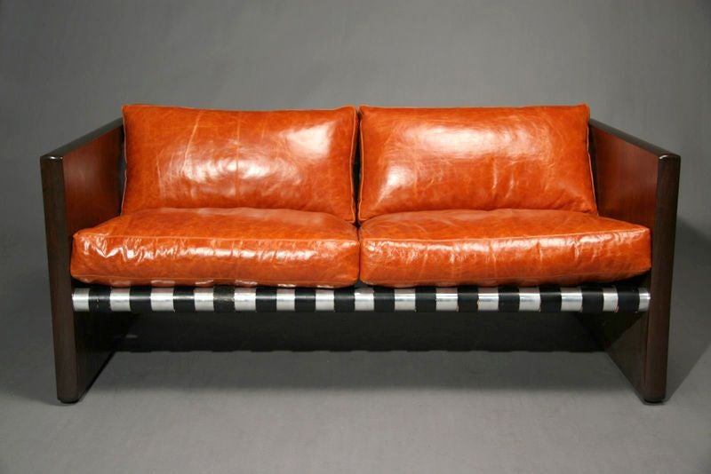 Rosewood Chrome And Orange Leather Sling Settee Sofa For