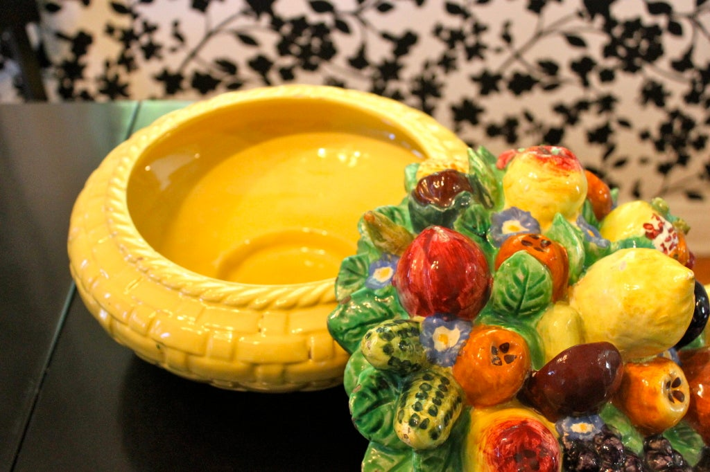 Ceramic Fruit Italian Faience Centerpiece At 1stdibs