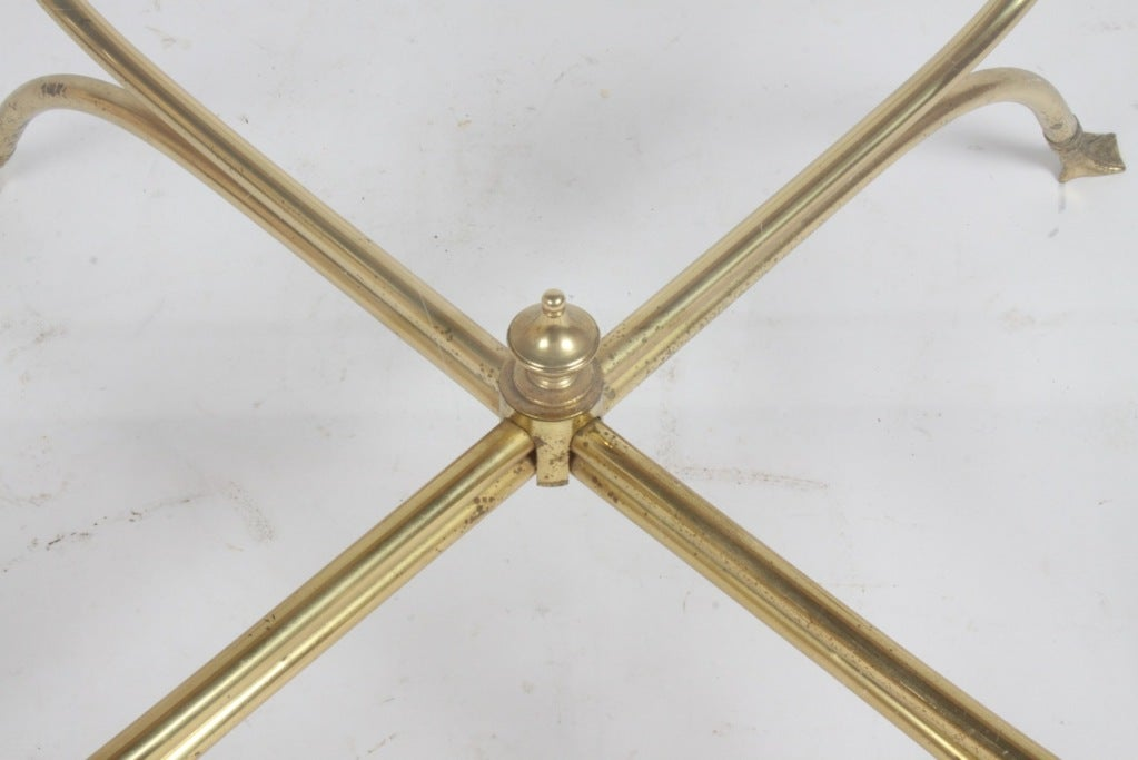 Mid-20th Century Italian Brass Swan Cocktail Table For Sale