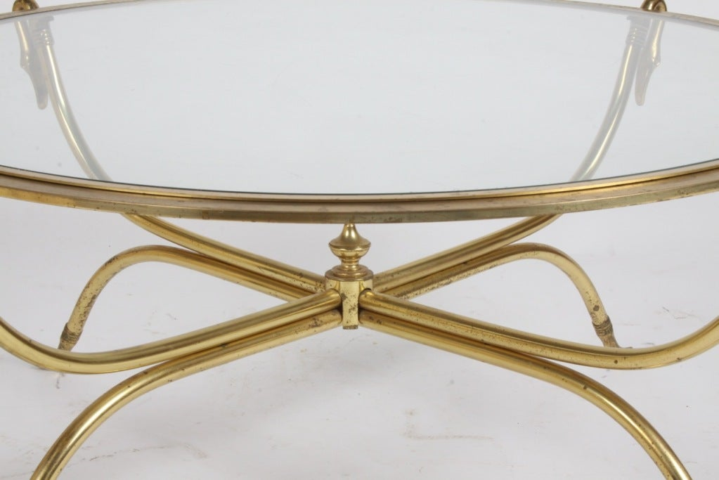 Italian Brass Swan Cocktail Table For Sale 1