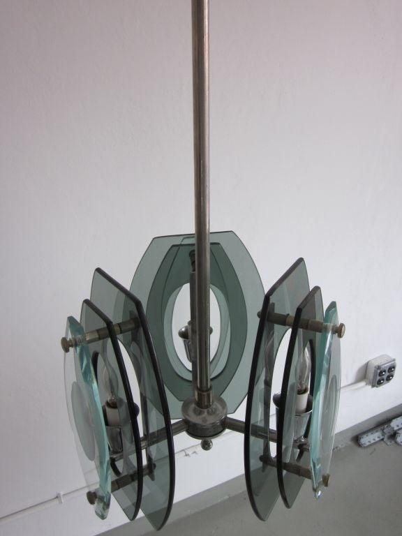 Italian Mid-Century Modern Glass Pendant, Style of Max Ingrand for Fontana Arte For Sale 1