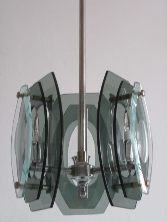 Italian Mid-Century Modern Glass Pendant, Style of Max Ingrand for Fontana Arte In Good Condition For Sale In New York, NY