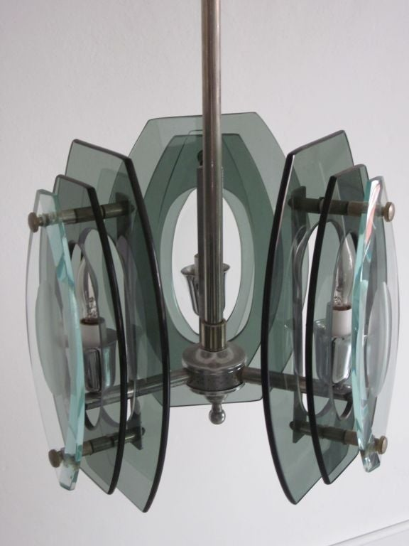 Mid-20th Century Italian Mid-Century Modern Glass Pendant, Style of Max Ingrand for Fontana Arte For Sale