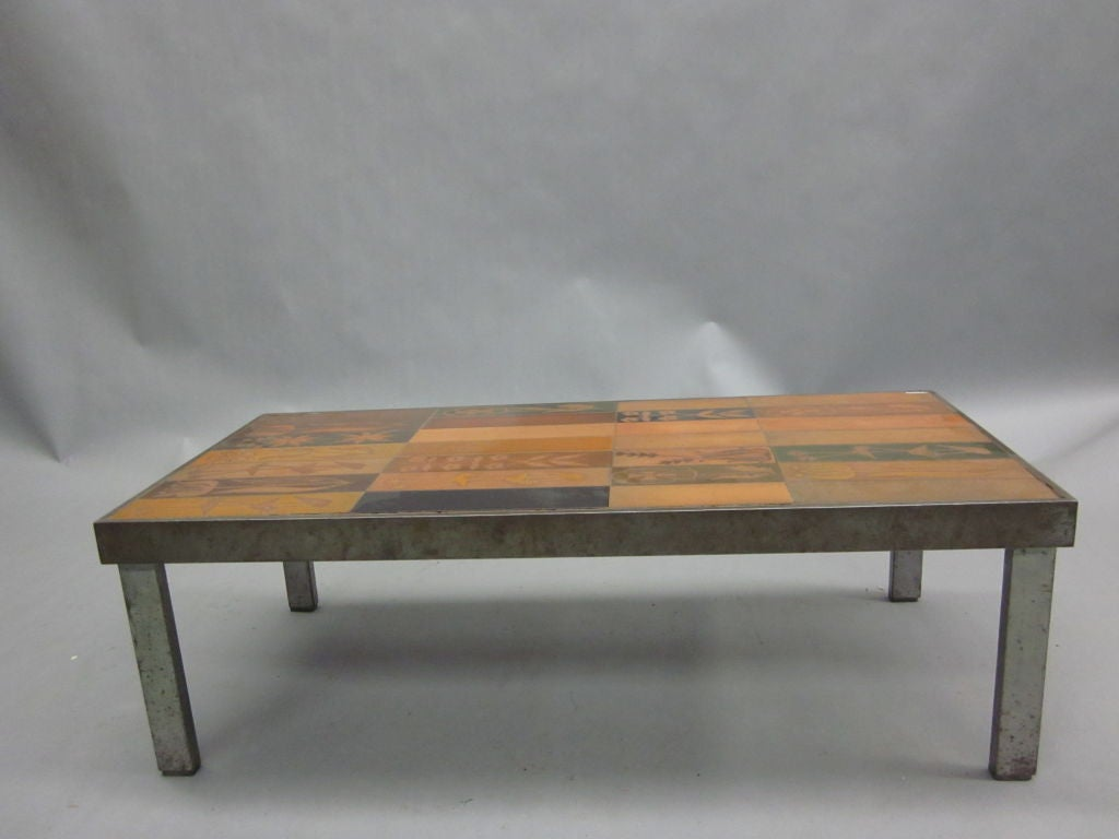 Rare Cocktail Table Signed By Roger Capron At 1stdibs