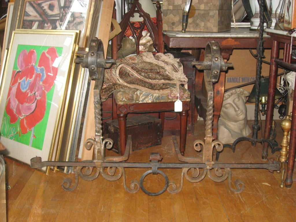 American Massive Pr. of Hand Forged  Iron Andirons For Sale