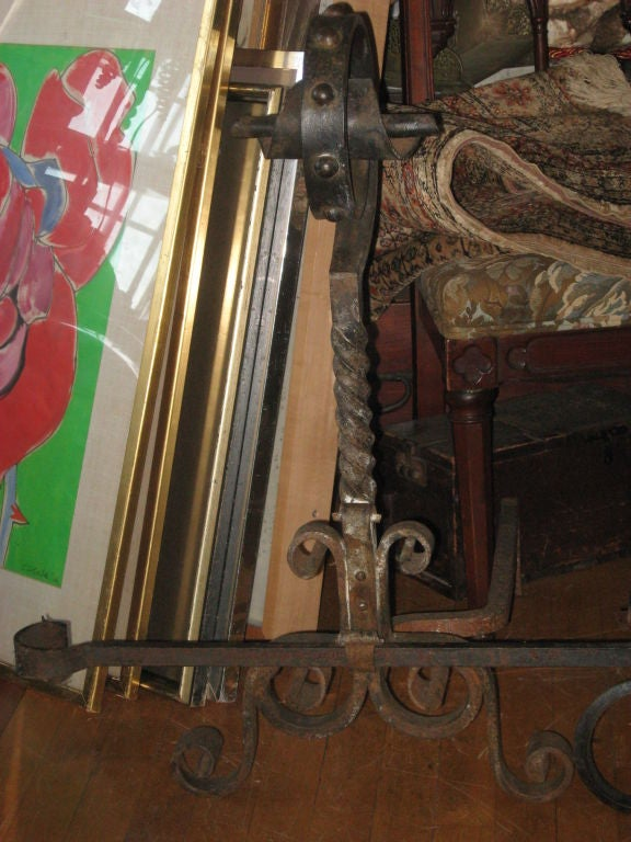 20th Century Massive Pr. of Hand Forged  Iron Andirons For Sale