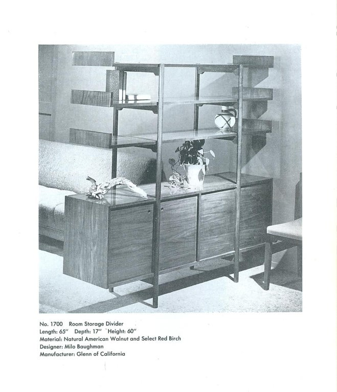 Milo Baughman for Glenn of CA Room Storage Divider in Natural Walnut and Select Red Birch
