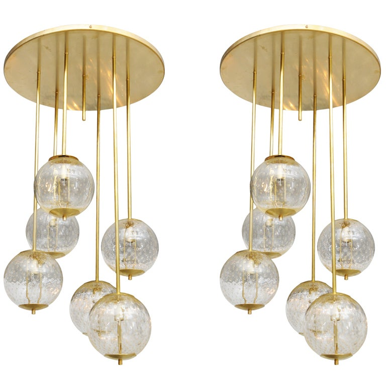 Large Italian Brass And Glass Bubble Light Fixture At 1stdibs