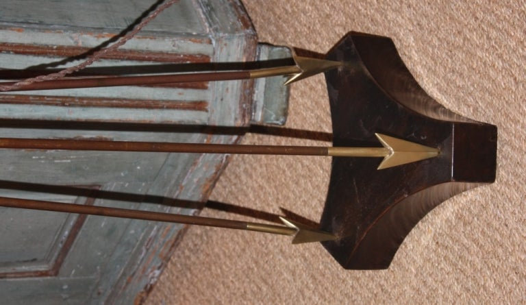Brass Arrow-Form Tripod Floor Lamp Attributed to Jacques Adnet For Sale