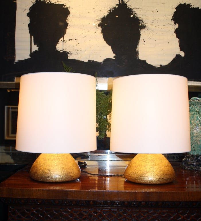 Pair of Gilded Ceramic Gumdrop Lamps by Andrea Koeppel For Sale 1