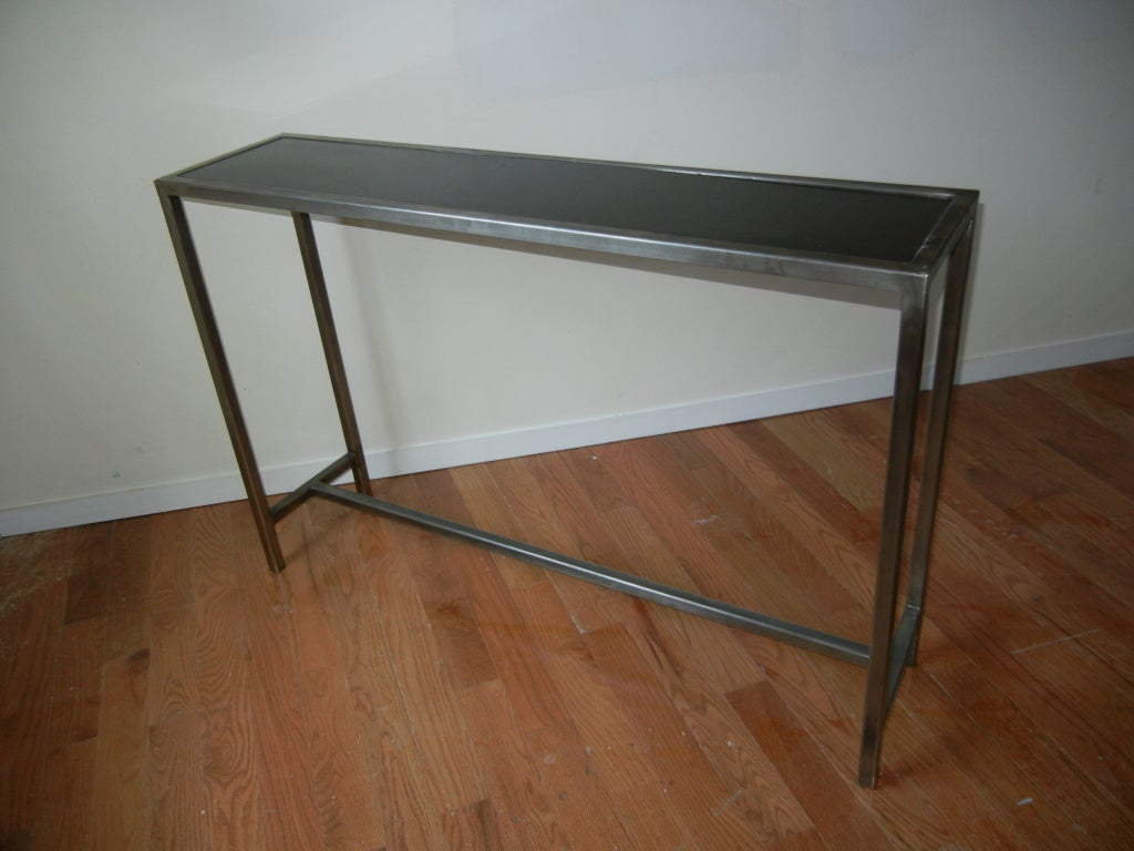 industrial steel and marble console table from belgium for