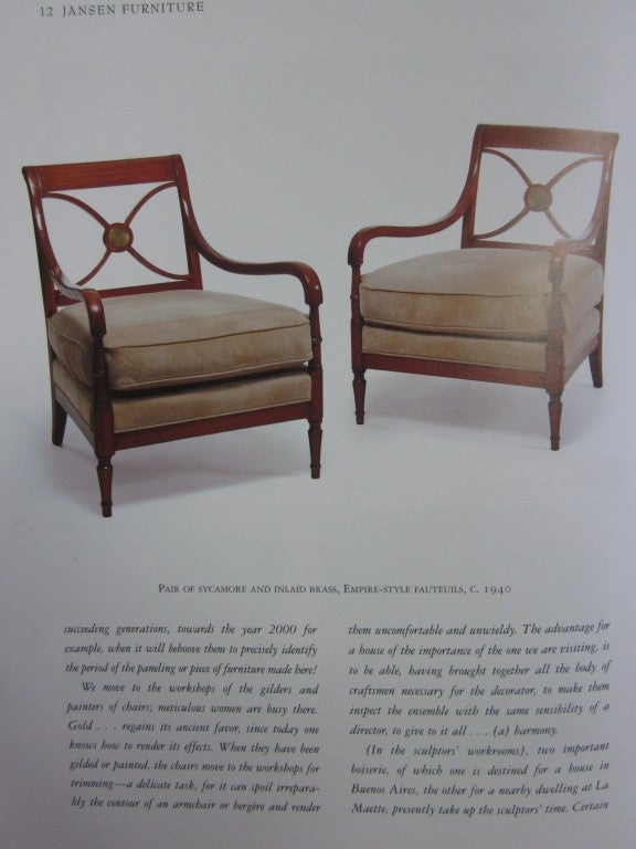 Pair French Mid-Century Modern Neoclassical Wood Lounge Chairs by Maison Jansen For Sale 5