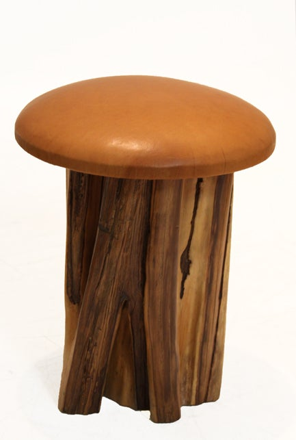 Set of 8 Aquari-Quari leather seat stools by Zanini de Zanine 4