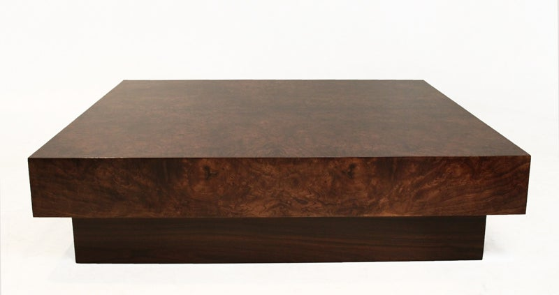 Burl Coffee Table Walnut Finish And Rosewood Base At 1stdibs