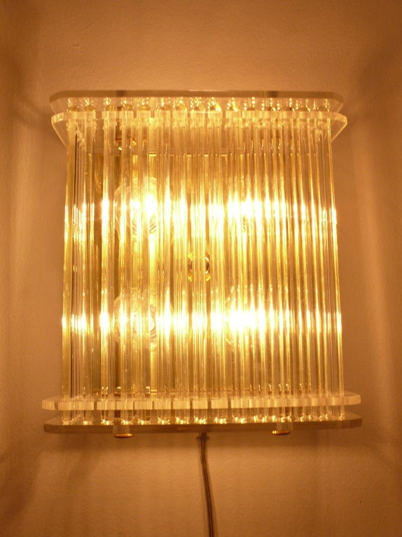 Glass Rod Wall Sconces : Pair of Glass Rod Wall Sconces at 1stdibs