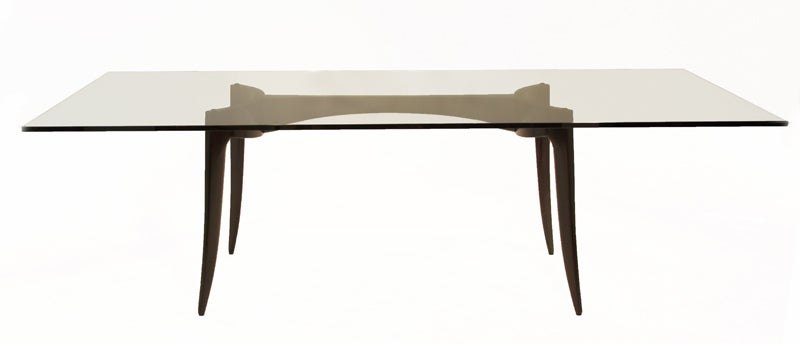 Sculptural Tapered Leg Wood and Chrome Dining Table with  : 888513407546013 from www.1stdibs.com size 800 x 344 jpeg 12kB