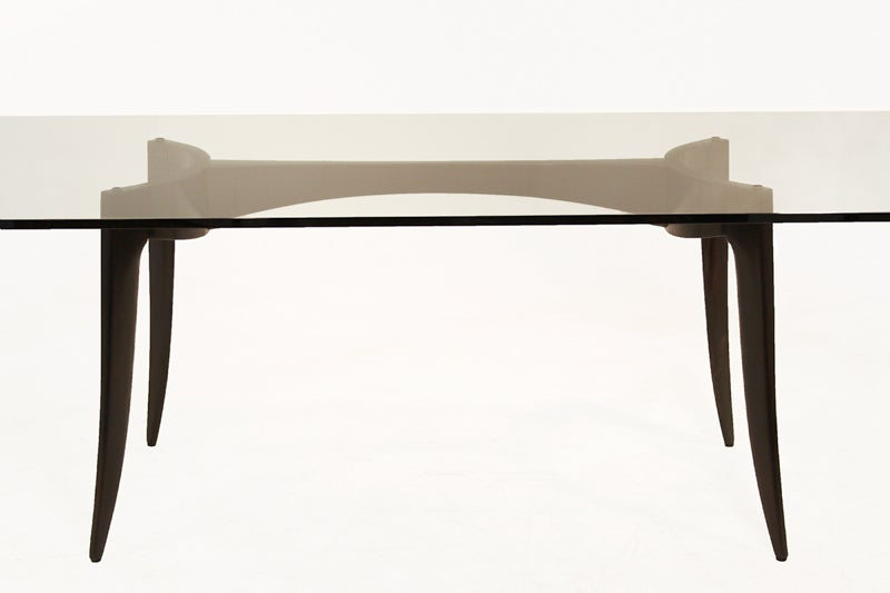 Sculptural Tapered Leg Wood And Chrome Dining Table With Thick Glass Top For