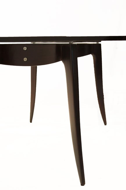 Sculptural Wood Dining Table With Thick Glass Top At 1stdibs