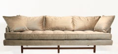 Bronze silk velvet sofa in the style of Harvey Probber image 2