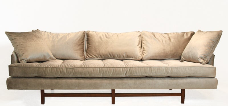 American Bronze silk velvet sofa in the style of Harvey Probber For Sale
