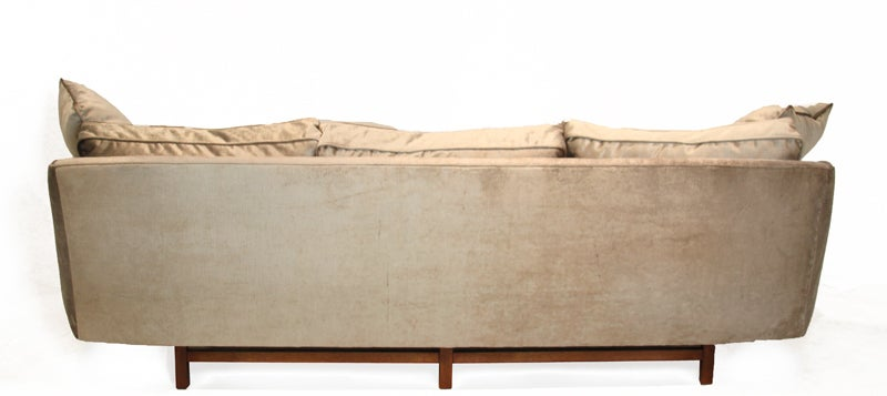 Mid-20th Century Bronze silk velvet sofa in the style of Harvey Probber For Sale
