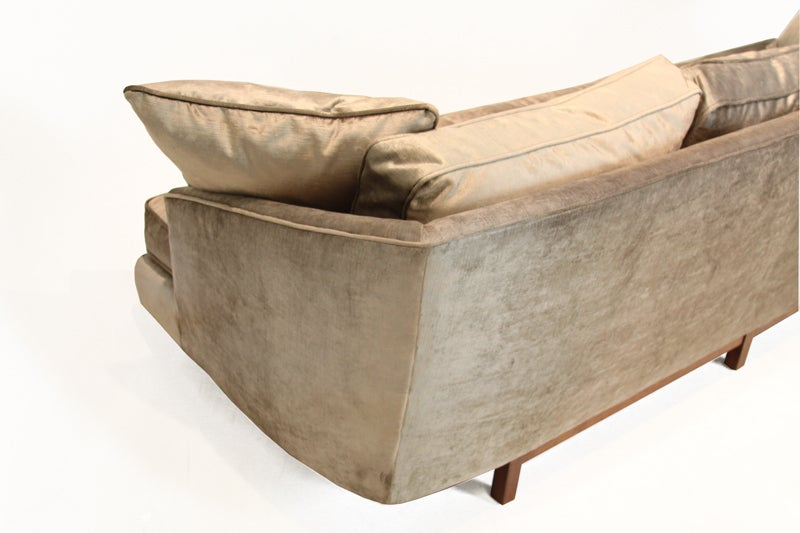 Bronze silk velvet sofa in the style of Harvey Probber For Sale 1