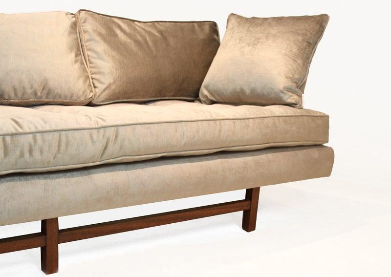 Bronze silk velvet sofa in the style of Harvey Probber 6