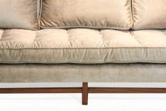 Bronze silk velvet sofa in the style of Harvey Probber image 7