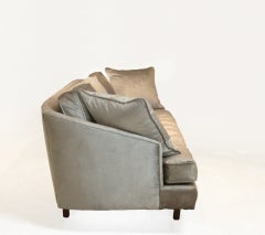 Bronze silk velvet sofa in the style of Harvey Probber image 4