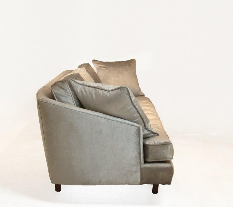 Bronze silk velvet sofa in the style of Harvey Probber 4