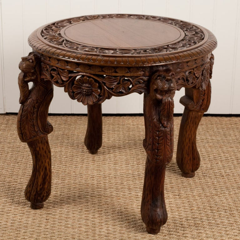 anglo indian heavily carved teak side table india late 19th century