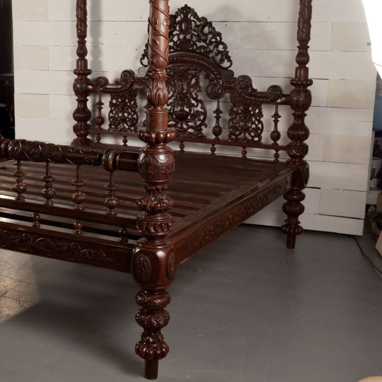 Anglo indian heavily carved mahogany four poster bed at