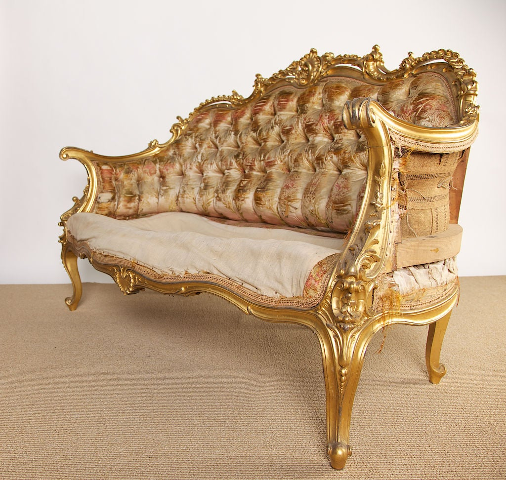 19th Century French Rococo Style Louis XV Settee At 1stdibs