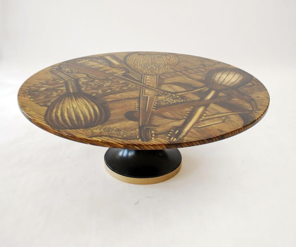Mid-Century Modern Piero Fornasetti STRUMENTI MUSICALI Coffee Table For Sale