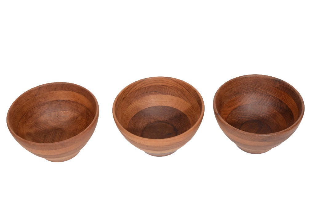 Trio of Solid Danish Modern Teak Turned Wooden Bowls 3