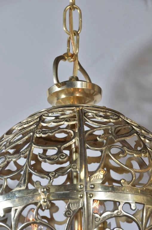 Pair Pierced Brass Asian Ceiling Pendants image 5