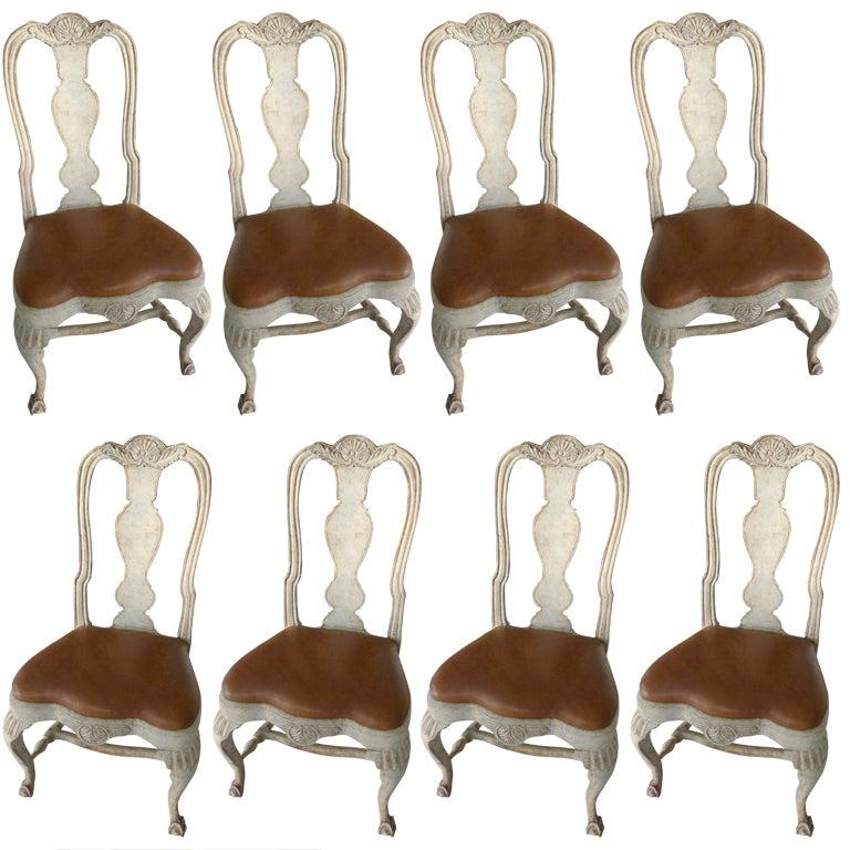 A Rare Set of 8 Swedish Rococo Chairs 1