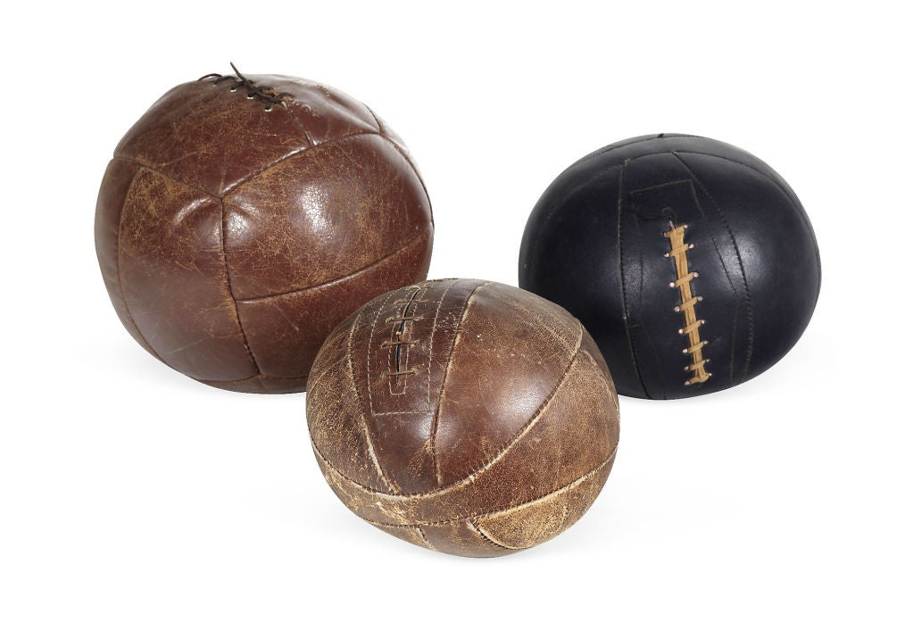 Sporting Art Antique leather medicine ball For Sale