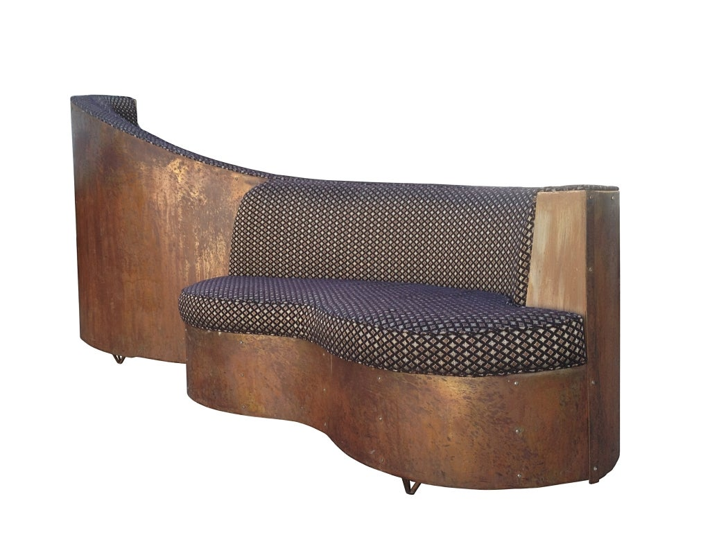 Art Deco Double Sided Copper And Wood Upholstered Sofa For